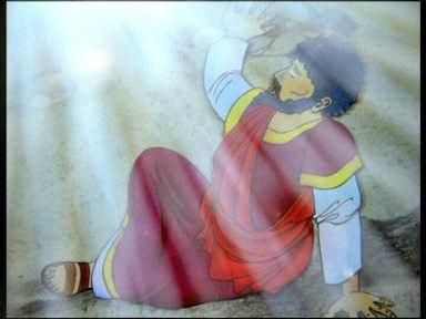Saul leur raconta ce qui s'était passé : sur la route, Saul avait vu le Seigneur, qui lui avait parlé
